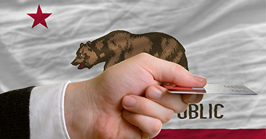 CA Flag and Credit Card