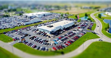 Aerial View of Car Dealership