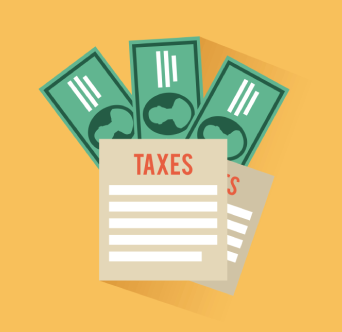 Illustration of tax paperwork and cash