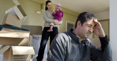 A family moving out of a home