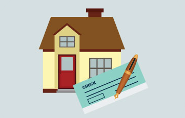 illustration of a house and check book