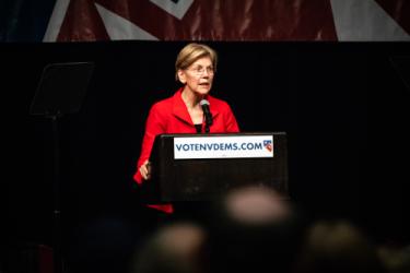 Senator Warren giving a speech